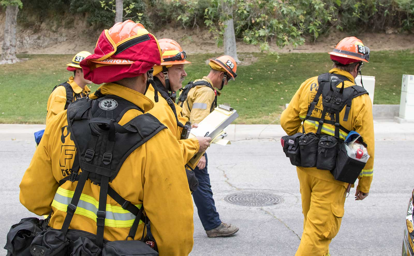 Firefighters gather for wildfire drill.