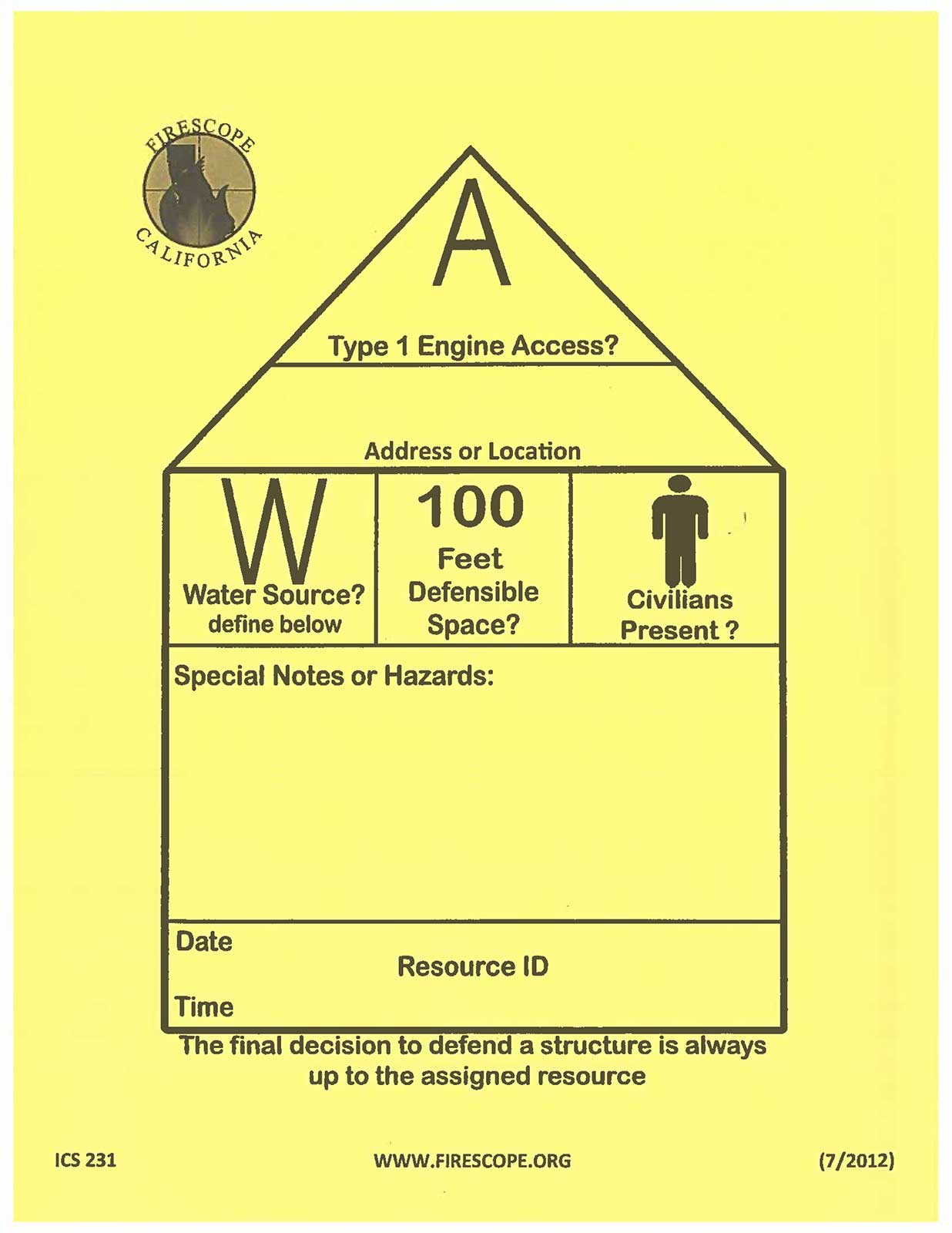 Form used by firefighters to evaluate buildings.