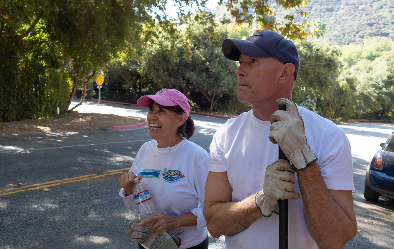 Ken Batchelor, Leticia Gonzalez, Glendale CA neighborhood stair cleanup volunteers.