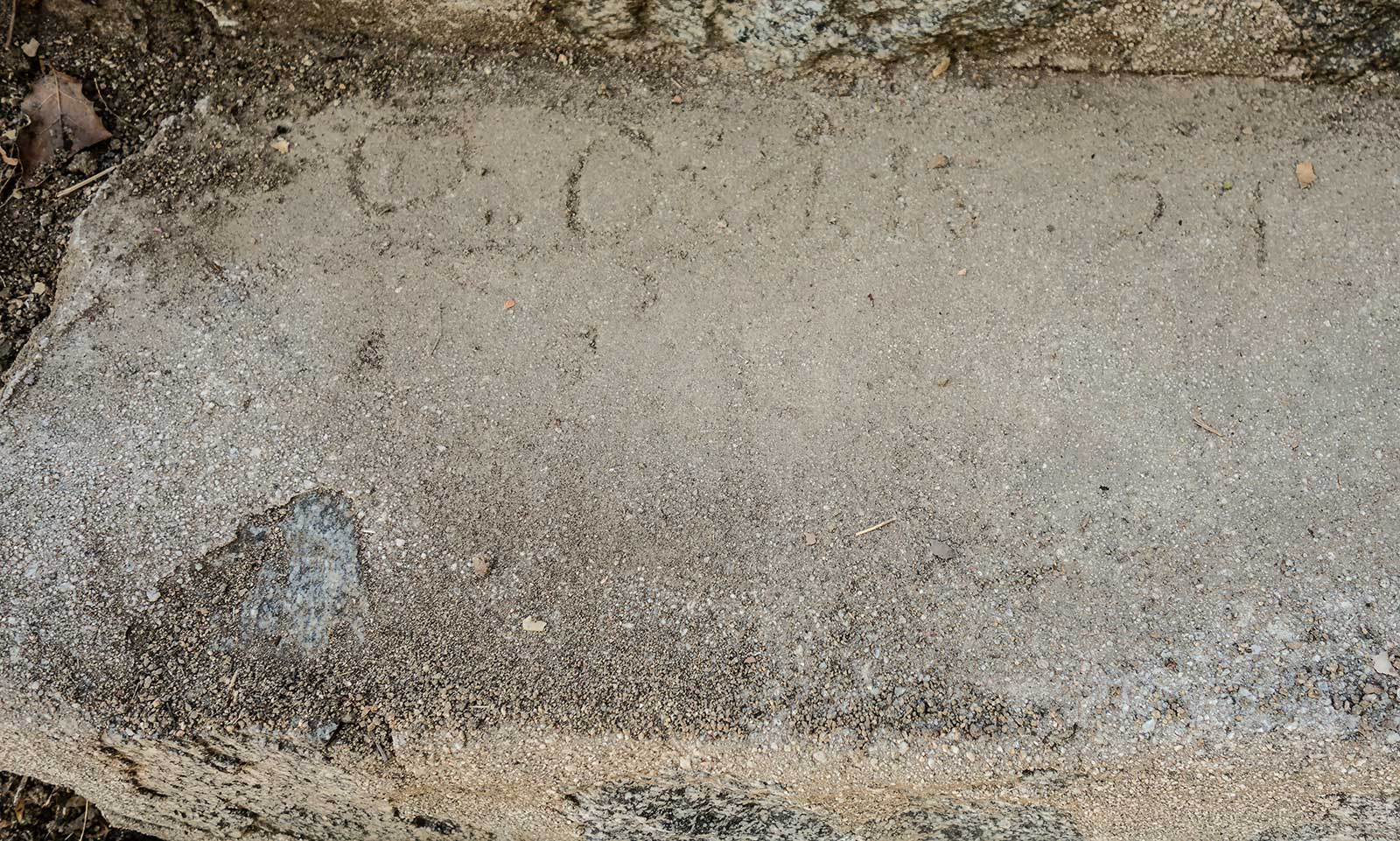 Discovered in the concret steps the date Oct. 15 1929
