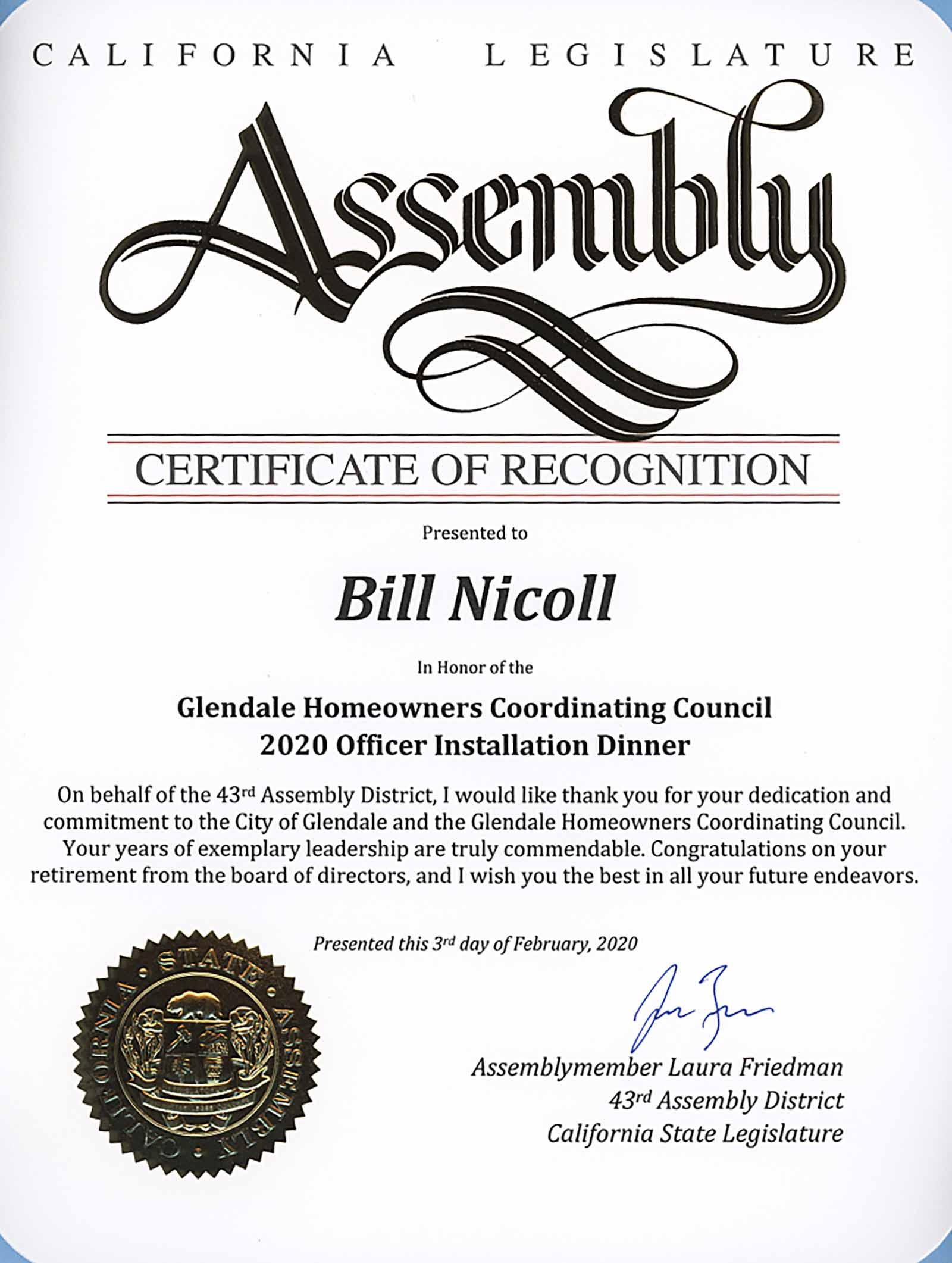certificate of recognition for Glendale Bill Nicholl